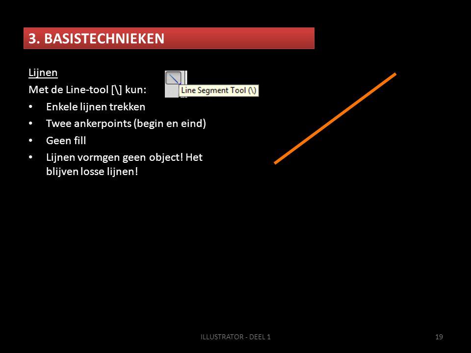 3. BASISTECHNIEKEN Lijnen Met de Line-tool [\] kun: